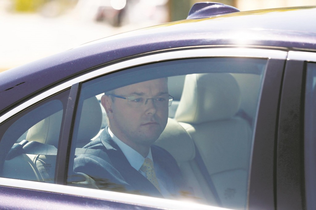 Sweden's ambassador to Israel Carl Magnus Nesser arriving for a meeting at Israel's Foreign Ministry on Monday. (REUTERS/Baz Ratner)