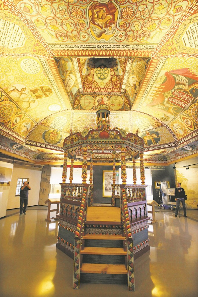 Exhibit of the reconstruction of a wooden 17th-century synagogue once located in Gwozdziec, a formerly Polish town now in Ukraine, at the POLIN Museum of the History of Polish Jews. (AP Photo/Czarek Sokolowski)