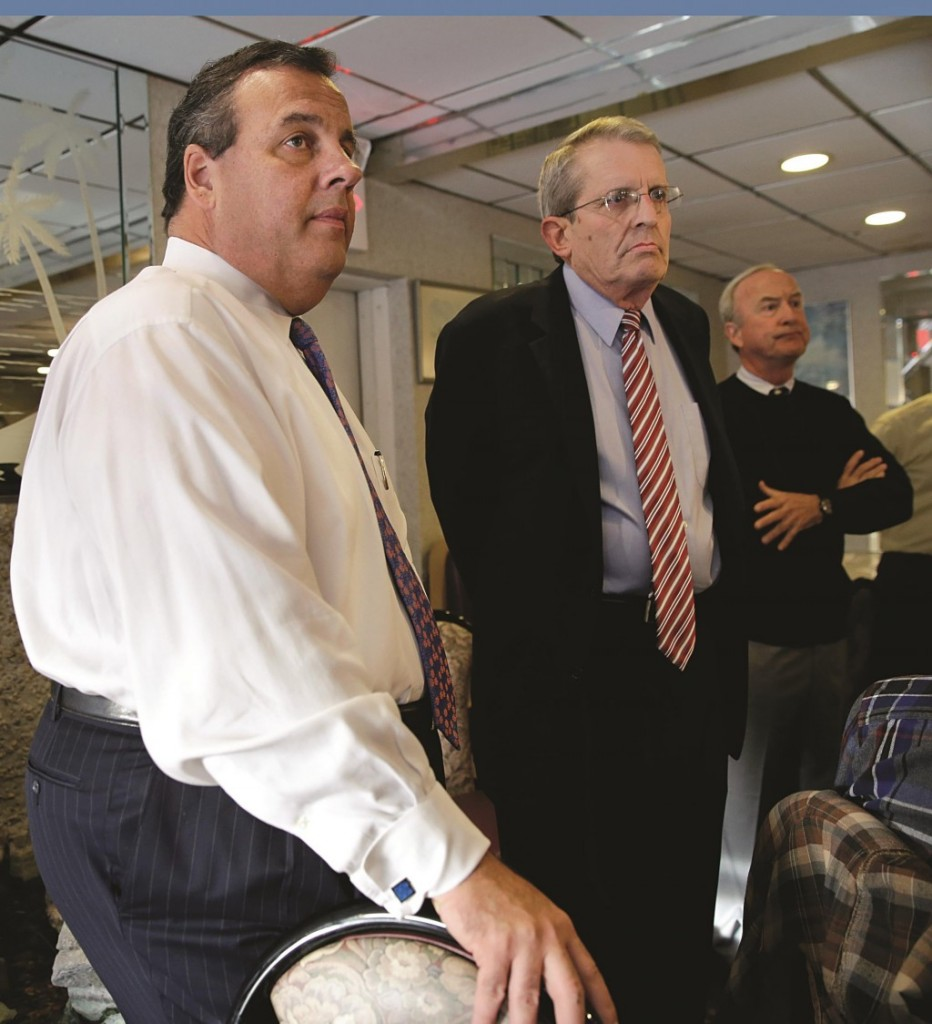 Republican Senate candidate Jeff Bell and Gov. Chris Christie (photo on right) on Monday listen to a question at a Morristown diner. (AP Photo/Mel Evans)