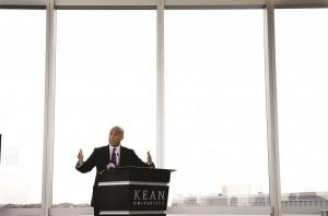Democrat Sen. Cory Booker addresses a gathering at Kean University in Union, N.J. (AP Photo/Mel Evans)