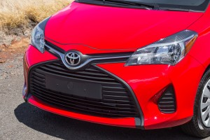 The 2015 Toyota Yaris's hood and front fenders are noticeably more sculpted than the previous model, which Toyota imported from Japan. The new one comes from France. (Toyota/MCT)