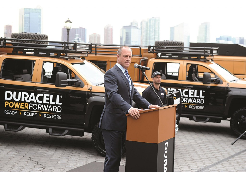 Duracell on Tuesday launches the expanded Duracell Power Forward fleet in Battery Park City. This disaster relief program provides free batteries, WiFi and mobile charging within 24 hours after a natural disaster. (AP Photo/Duracell)