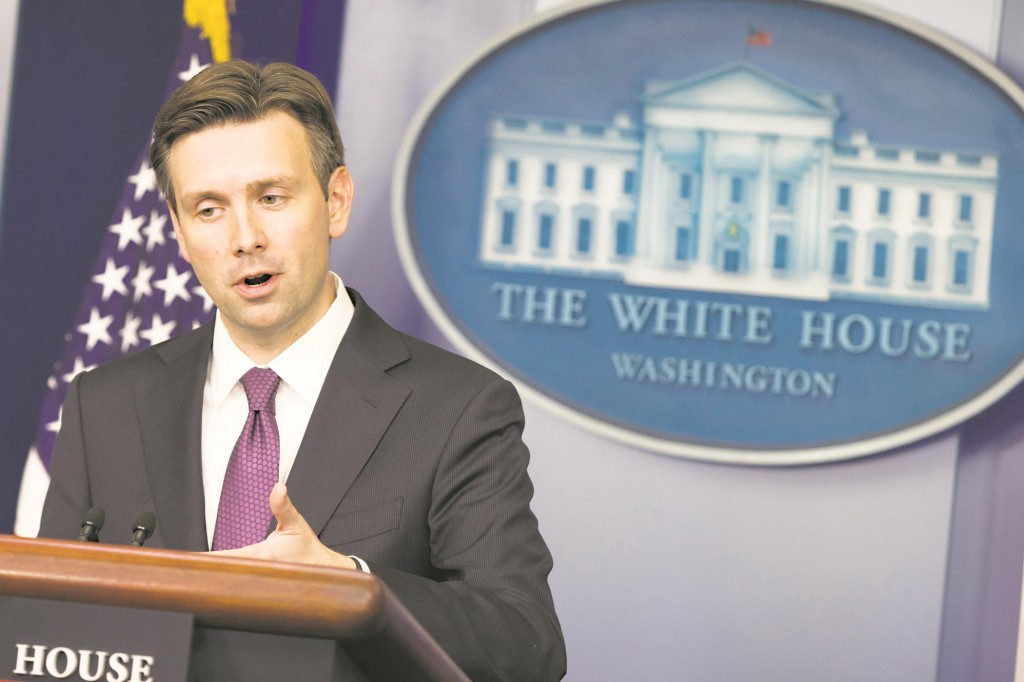 White House press secretary Josh Earnest at the daily press briefing, Monday.  (AP Photo/Evan Vucci)
