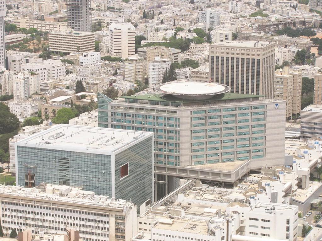 An aerial view of Tel Aviv Sourasky Medical Center, in Tel Aviv, more commonly known as Ichilov Hospital.