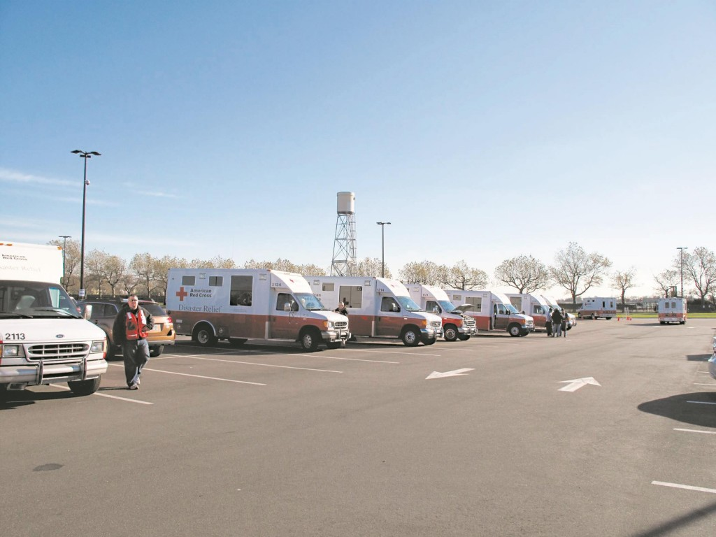 Red Cross vehicles lined up in Far Rockaway on Nov. 5, 2012, six days after Sandy hit. (Larry Fortmuller/American Red Cross)