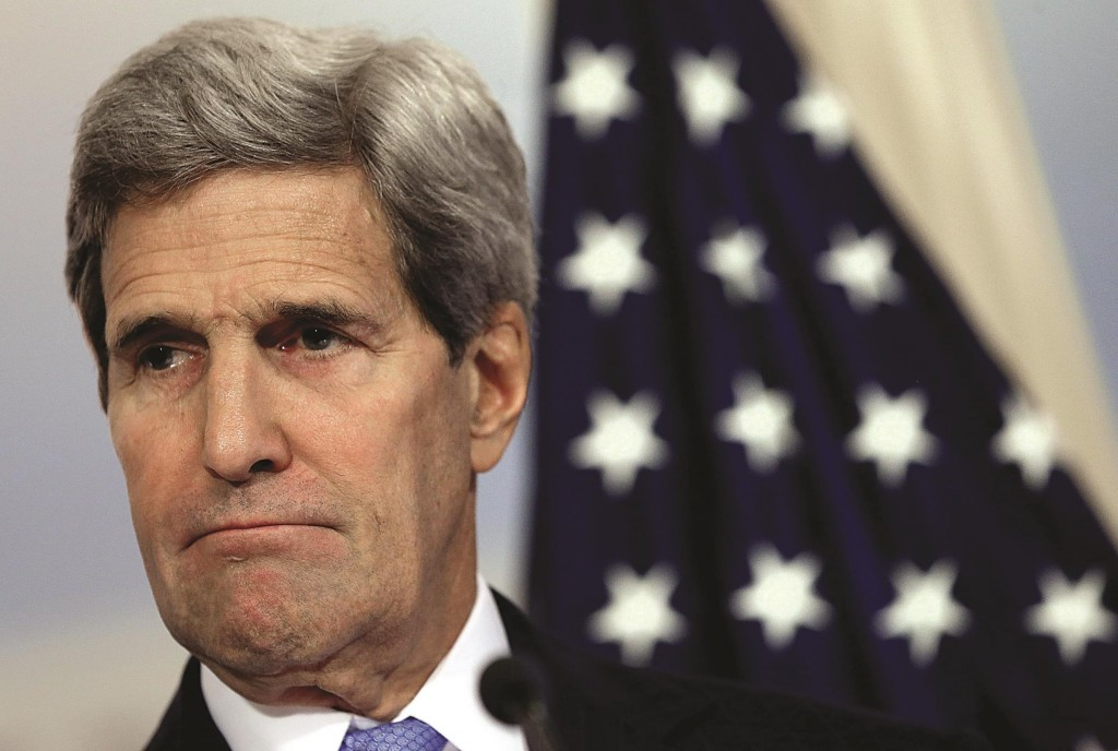 Secretary of State John Kerry listens to a question during a press conference  strategy relating to the Islamic State in Syria and Iraq.  (Win McNamee/Getty Images)