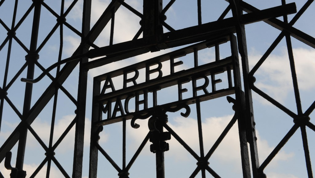 In this April 24, 2009 file photo the entrance gate of the former Nazi concentration camp in Dachau near Munich, southern Germany, is pictured. (AP Photo/Christof Stache, File)