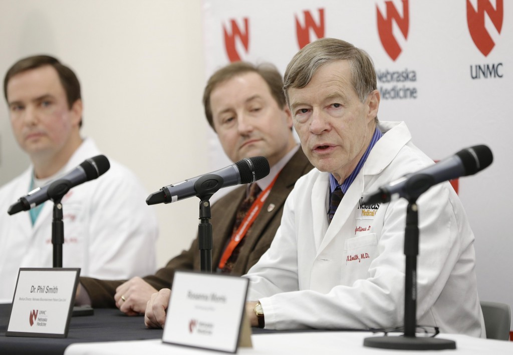 Dr. Phil Smith, medical director of the Nebraska Biocontainment Care Unit, answers a question during a news conference in Omaha, Neb., Monday, on the death of Dr. Martin Salia. (AP Photo/Nati Harnik)