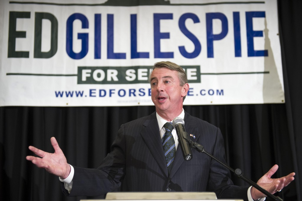 Virginia Republican Senate candidate Ed Gillespie tells his supporters that the race is too close to call at his election night party in Springfield, Va., Wednesday. Gillespie is running against Democratic incumbent U.S. Sen. Mark Warner.  (AP Photo/Cliff Owen)