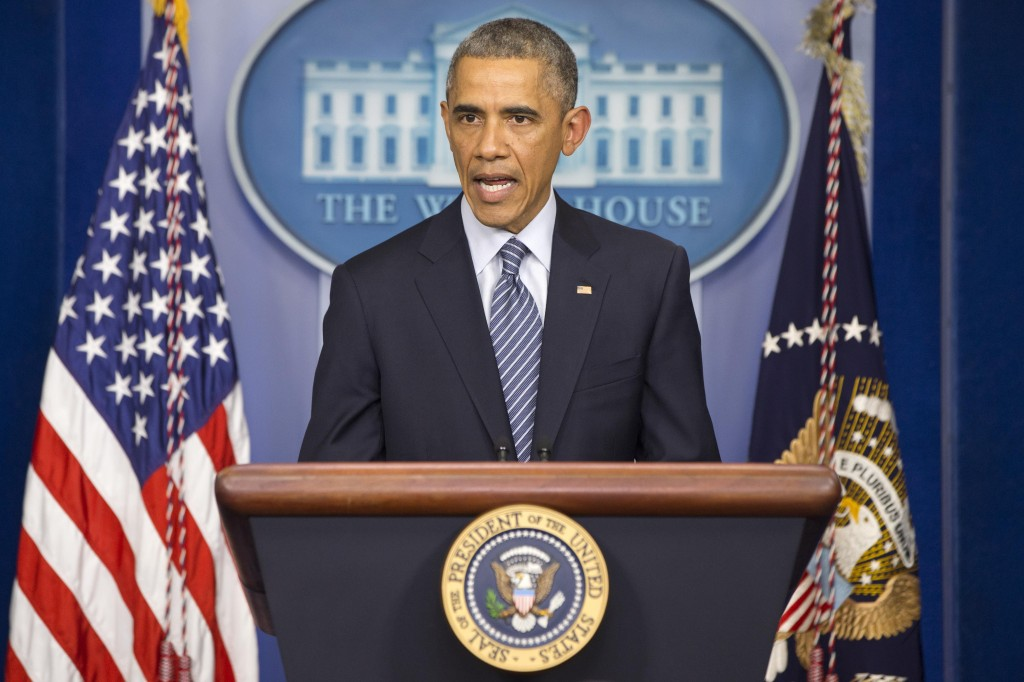 President Barack Obama speaks to the media in the briefing room of the White House, Monday, in Washington, after the Ferguson grand jury decided not to indict police officer Darren Wilson in the shooting death of Michael Brown. (AP Photo/Jacquelyn Martin)