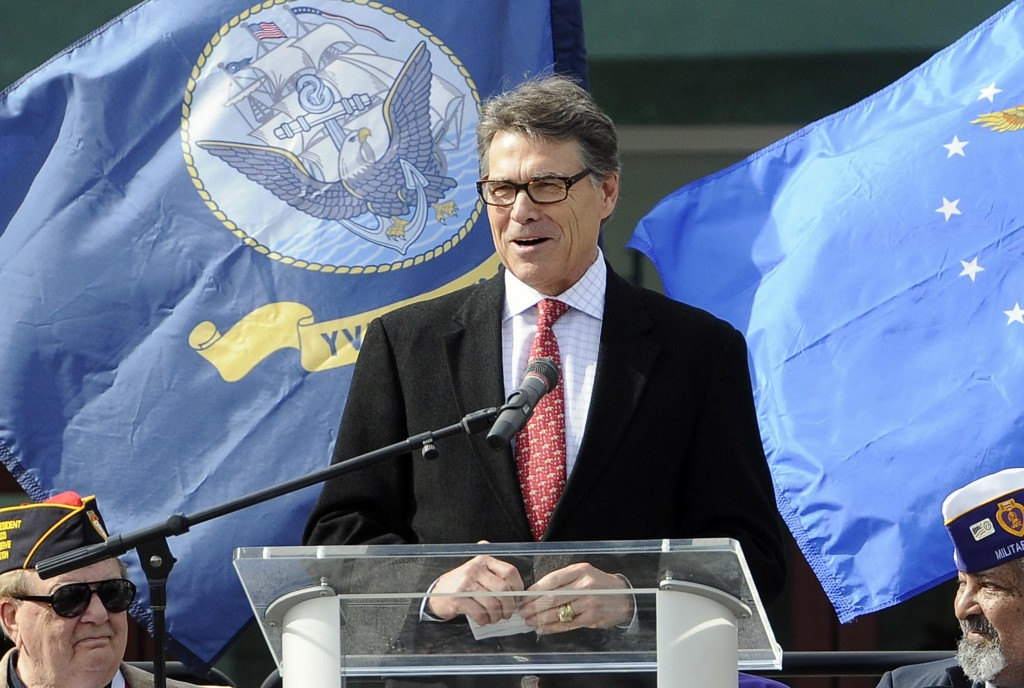 Texas Gov. Rick Perry speaks during the recent Grand Strand Patriotic Alliance Veterans' Day program at the Myrtle Beach Convention Center. (AP Photo/The Sun News, Charles Slate)