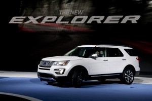 The 2016 Ford Explorer is presented during the Los Angeles Auto Show on Wednesday, Nov. 19, 2014 in Los Angeles. (AP Photo/Chris Carlson)
