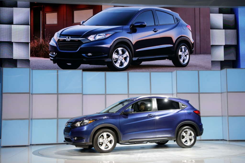 The 2016 Honda HR-V crossover is unveiled at the Los Angeles Auto Show on Wednesday, Nov. 19, 2014 in Los Angeles. The annual event is open to the public beginning Nov. 21. (AP Photo/Jae C. Hong)