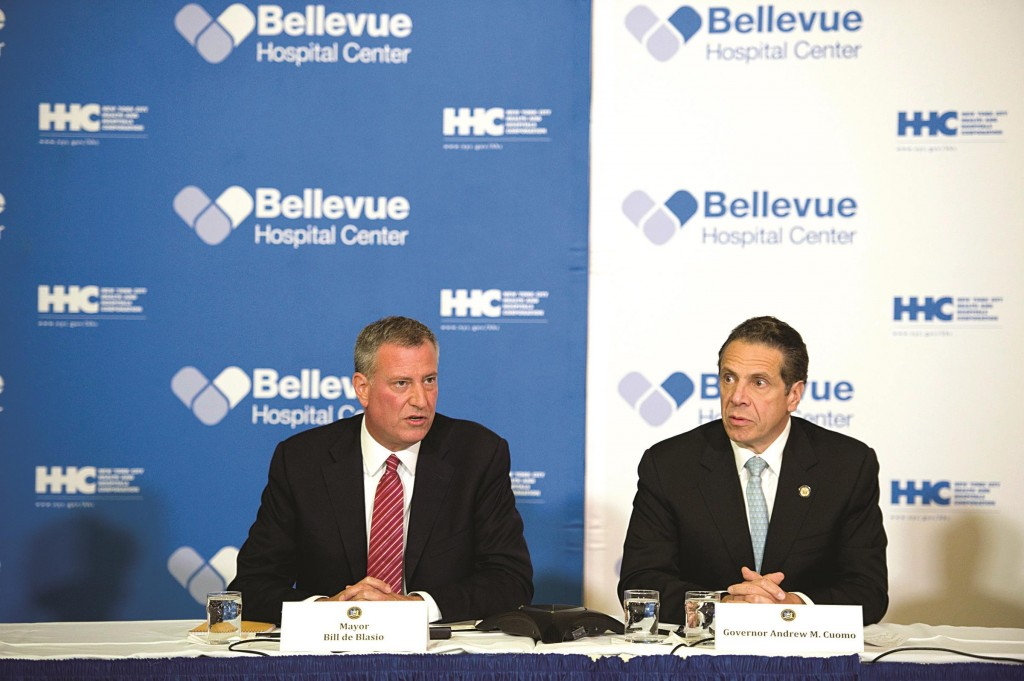 Mayor Bill de Blasio on Oct. 23 at a press conference with Gov. Andrew Cuomo at Bellevue Hospital on Ebola. (Rob Bennett/Mayoral Photography Office)