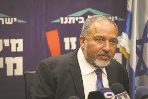 Foreign Minister Avigdor Lieberman at the Israel Beitenu faction meeting. (Hadas Parush/Flash90)