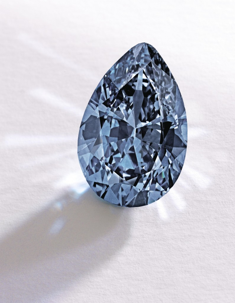 The Fancy Vivid Blue pear-shaped diamond sold Thursday for a record $32.6 million. (AP Photo/Sotheby)
