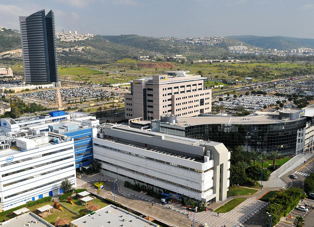 Elbit System headquarters in the technology park in Matam, Haifa. (Moshe Shai/FLASH90)