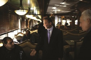 Republican gubernatorial candidate Rob Astorino greets diners at a Brooklyn restaurant. (AP Photo/Seth Wenig)