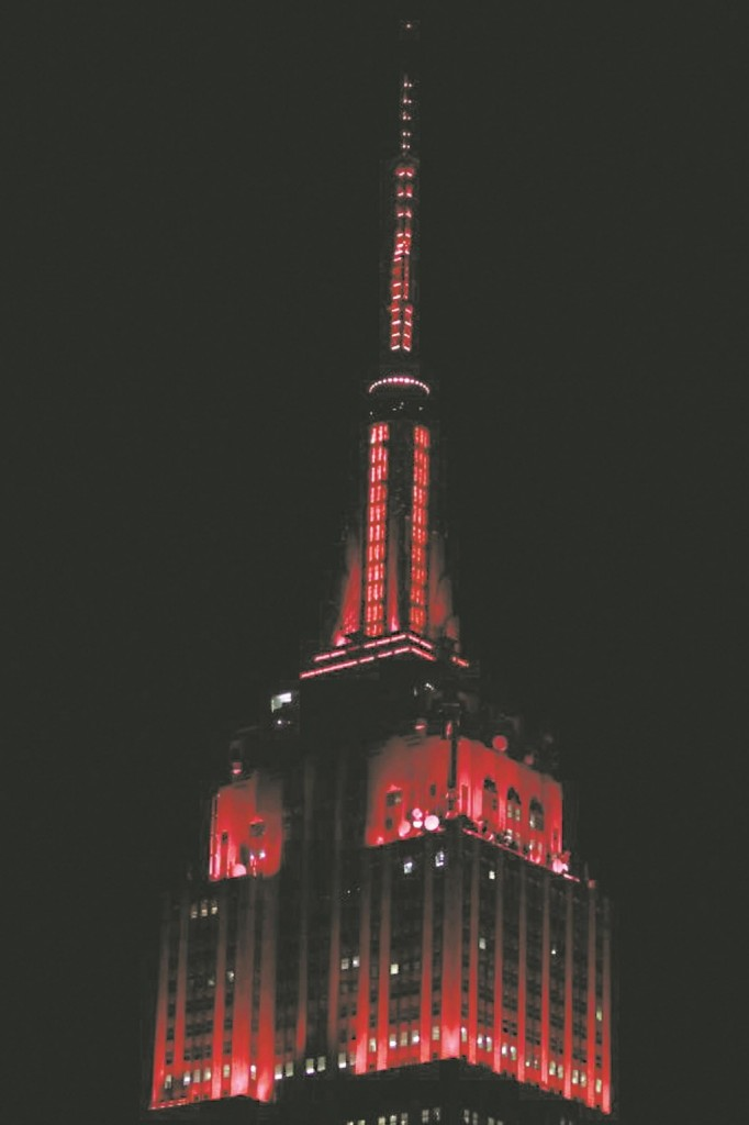 The Empire State Building bathed in red lights Tuesday Night symbolizing the GOP victory.