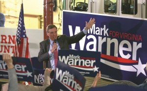 Sen. Mark Warner, Democrat of Va., campaigns at the old Fire Station #1 in downtown Roanoke, Va., on Monday afternoon. (AP Photo/The Roanoke Times, Stephanie Klein-Davis)