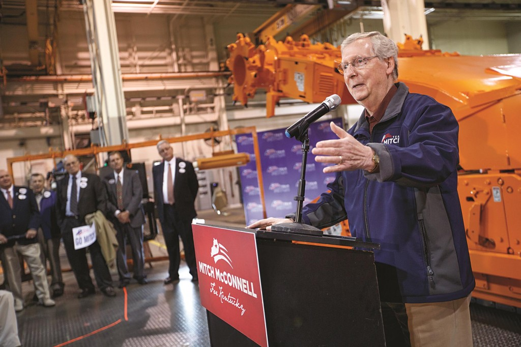 With four days left in Kentucky's combative Senate race, Senate Minority Leader Mitch McConnell of Ky., a 30-year incumbent, makes a final appeal for votes during a stop in Lebanon, Ky., at a plant that manufactures coal-mining machinery, Friday. (AP Photo/J. Scott Applewhite)