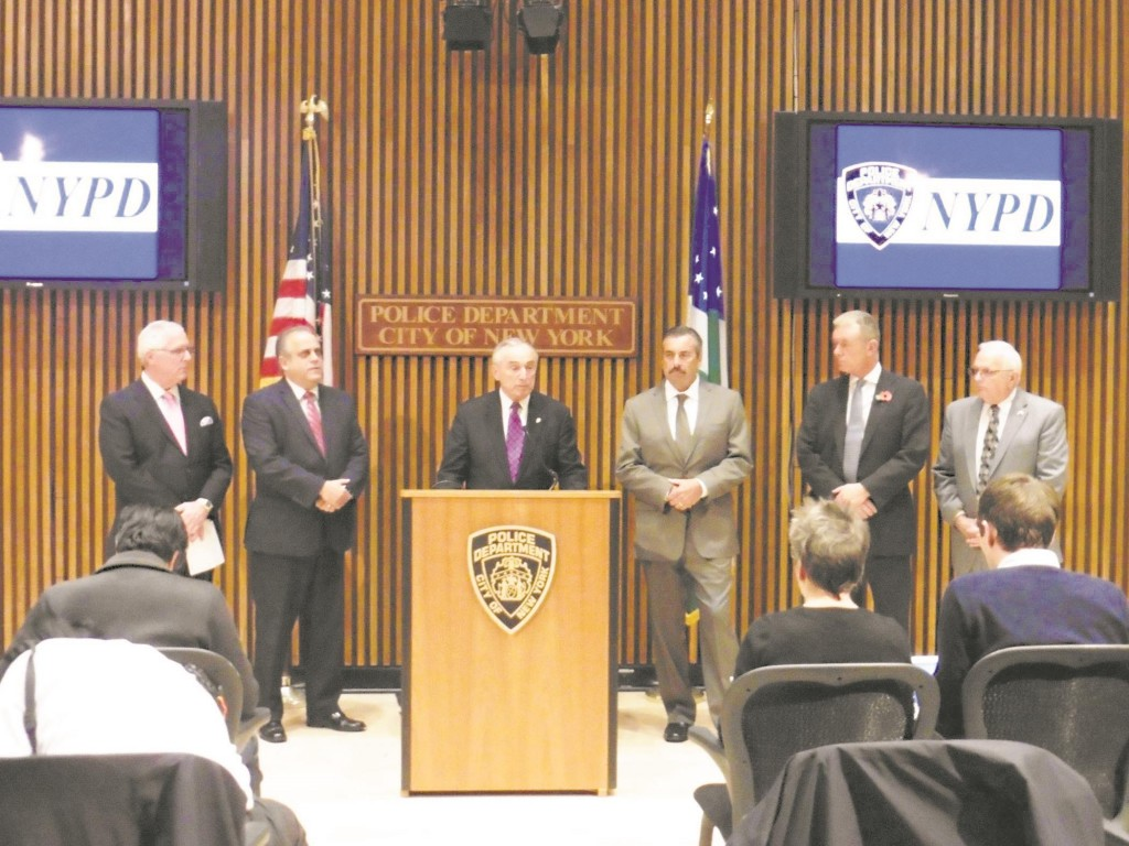 NYPD Chief William Bratton on Thursday addresses a news conference following a forum with his counterparts from Los Angeles and London. (NYPD)