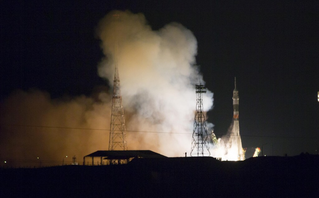 The Soyuz-FG rocket booster with the Soyuz TMA-15M space ship carrying a new crew to the International Space Station, ISS, blasts off at the Russian-leased Baikonur cosmodrome, Kazakhstan, Monday. The Russian rocket carries U.S. astronaut Terry Virts, Russian cosmonaut Anton Shkaplerov, and Italian astronaut Samantha Cristoforetti. (AP Photo/Dmitry Lovetsky)