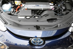 The engine part of a Toyota Mirai is shown at its showroom test course in Tokyo on Monday, Nov. 17, 2014. (AP Photo/Shizuo Kambayashi)