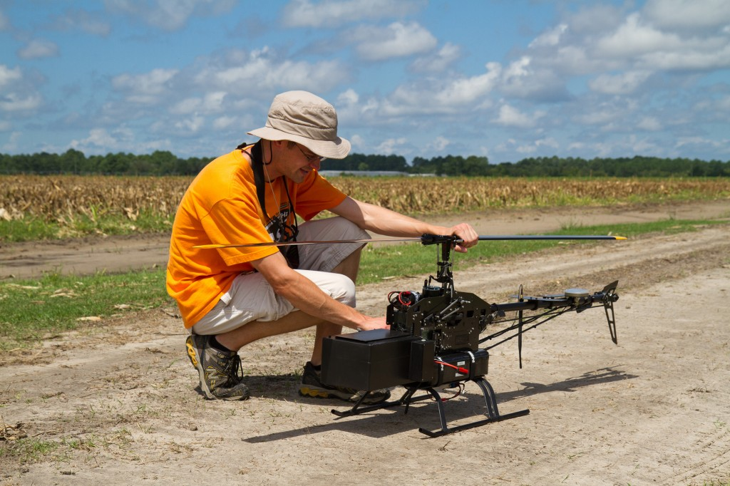 Guided Systems Technologies demonstrates its unmanned aircraft at the Sunbelt Ag Expo in Moultrie, Ga. (Jared Salzmann/Guided Systems Technologies, Inc./MCT)