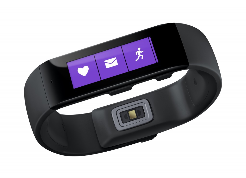 This product image provided by Microsoft shows the Microsoft Band. Microsoft is looking to challenge Apple and Google with its own system for consolidating health and fitness data from various fitness gadgets and mobile apps. The company is releasing the $199 band to work with this system. (AP Photo/Microsoft)