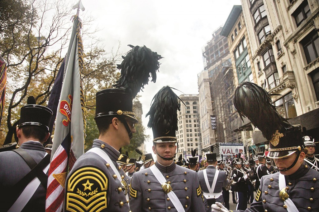 West Point cadets on Tuesday gather on Fifth Avenue as they prepare to march in the parade.