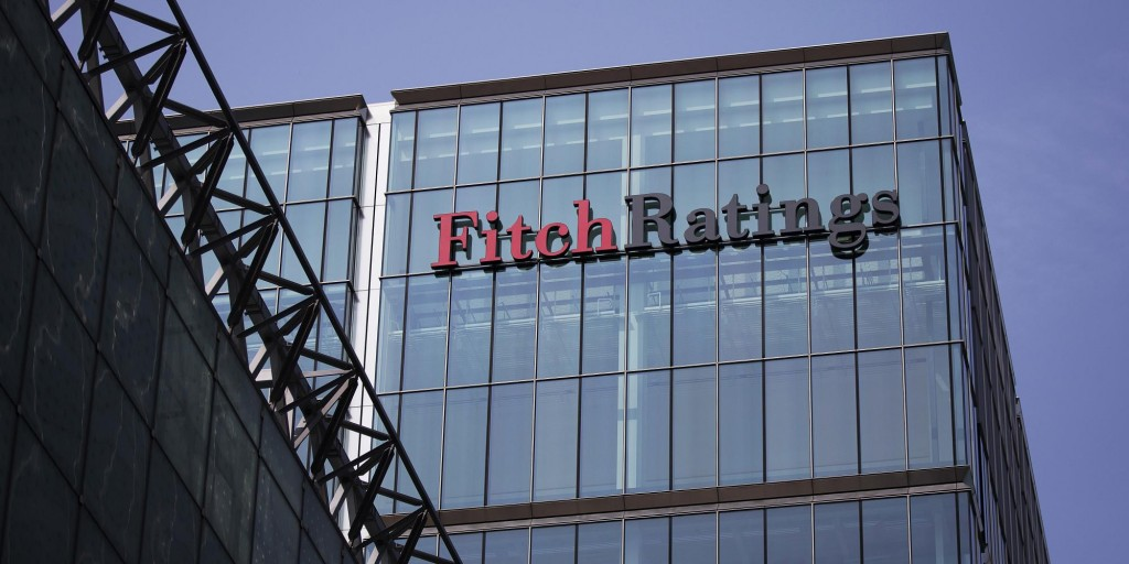 The headquarters of Fitch Ratings stands in the Canary Wharf business and shopping district in London. (Simon Dawson/Bloomberg via Getty Images)