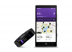 This product image provided by Microsoft shows the Microsoft Band, left, and the Microsoft Health app. Microsoft is looking to challenge Apple and Google with its own system for consolidating health and fitness data from various fitness gadgets and mobile apps. (AP Photo/Microsoft)