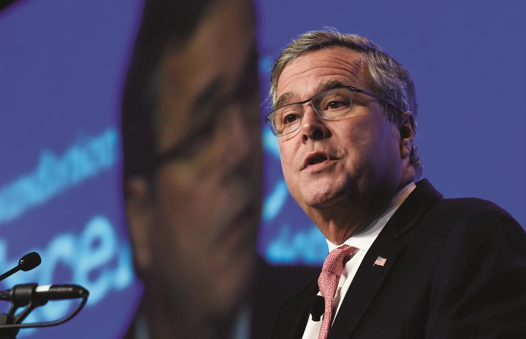 In this Nov. 20, 2014, file photo, former Florida Gov. Jeb Bush gives the keynote address at the National Summit on Education Reform in Washington.  (AP Photo/Susan Walsh, File)