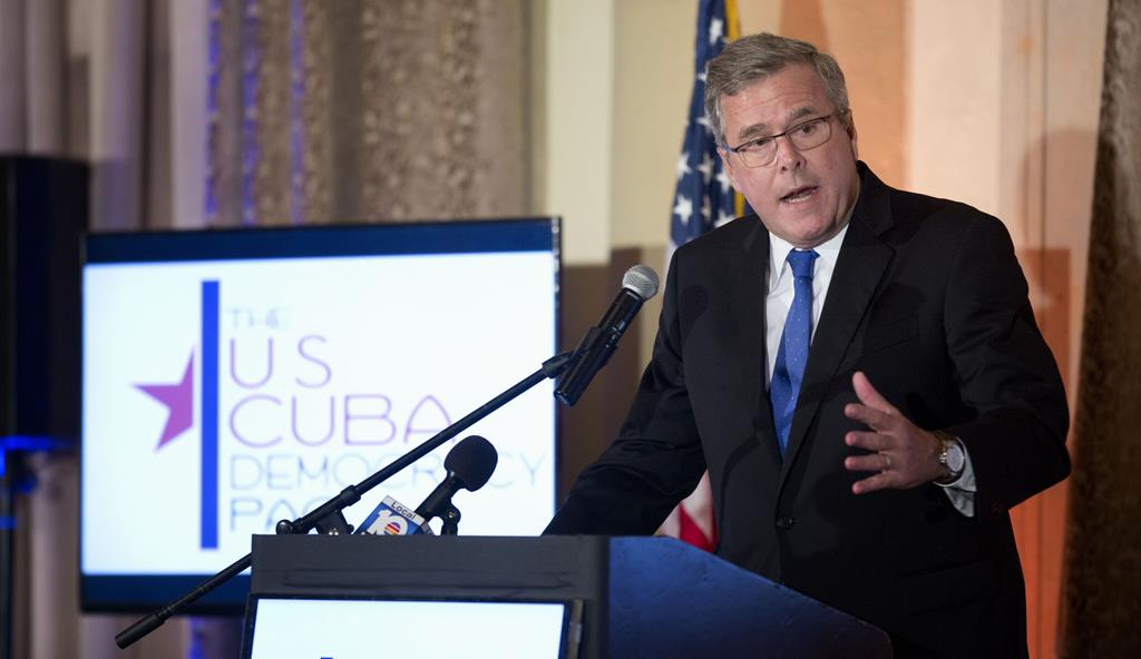 In this Dec. 2  photo, former Florida Gov. Jeb Bush speaks to the U.S. Cuba Democracy PAC's 11th Annual Luncheon in Coral Gables, Fla.  (AP Photo/J Pat Carter)