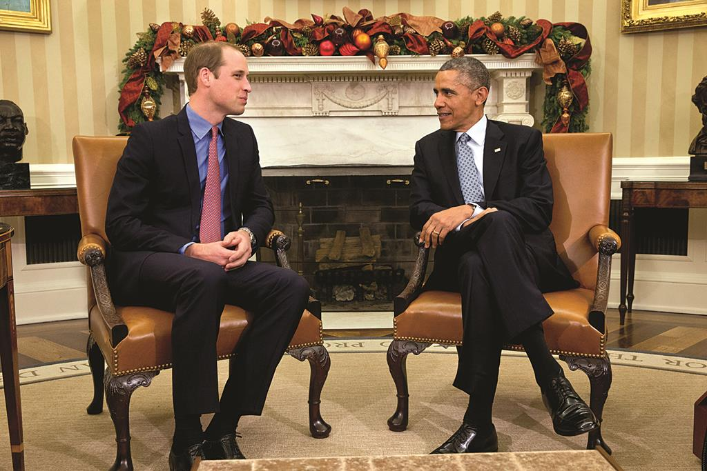 President Barack Obama meets with Britain's Prince William in the Oval Office of the White House in Washington, Monday.