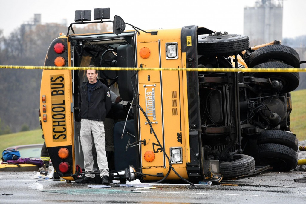 Two school buses, serving Chilhowee Intermediate School and Sunnyview Primary School, crashed on Asheville Highway just east of Gov. John Sevier Highway in Knoxville, Tenn. (Michael Patrick/Knoxville News Sentinel/TNS)