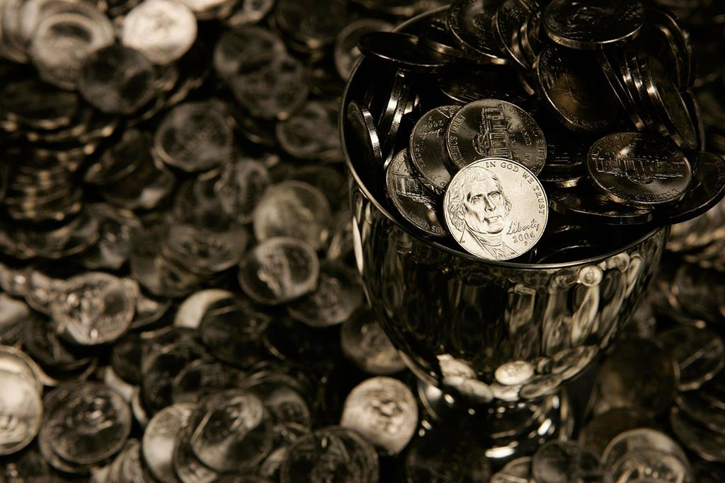 U.S. nickels are shown on display in Washington, DC.  (Alex Wong/Getty Images)