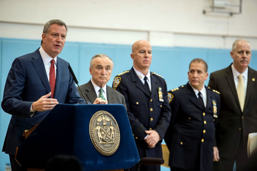 Mayor Bill de Blasio on Tuesday at a press conference announcing the city's crime rate has fallen to 1993 levels. (Demetrius Freeman/Mayoral Photography Office)