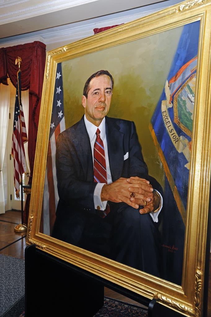 Former Gov. Mario Cuomo portrait hanging in the Capitol building.