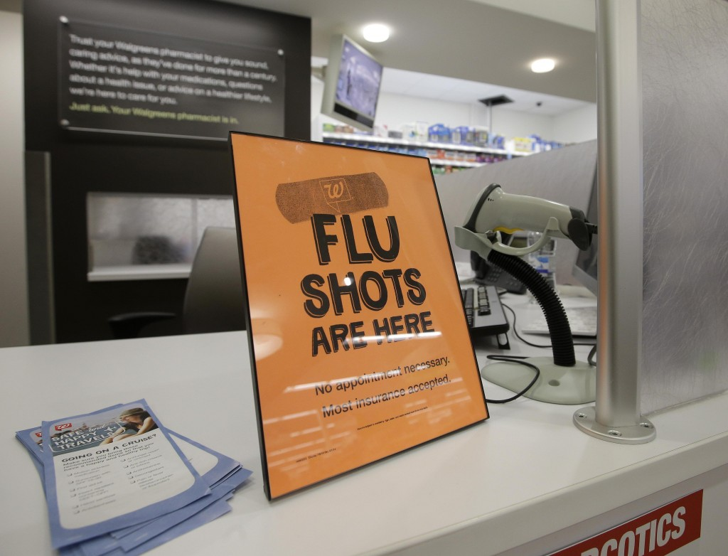 A sign lets customers know they can get aflu shot in a Walgreen store in Indianapolis.  (AP Photo/Darron Cummings)