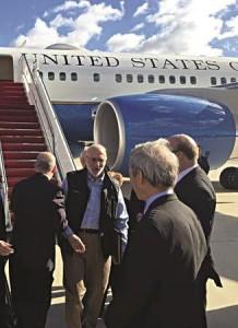 Alan Gross arriving at Andrews Air Force Base, Md., Wednesday.  (AP Photo/Sen. Jeff Flake)