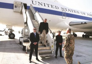 "Secretary of Defense Chuck Hagel is greeted after arriving on Saturday, in Kabul, Afghanistan. Speaking in Afghanistan, Secretary Hagel said American photojournalist Luke Somers ""and a second non-U.S. citizen hostage were murdered"" by al-Qaida terrorists during a failed U.S. rescue attempt. (AP Photo/Mark Wilson, Pool)"
