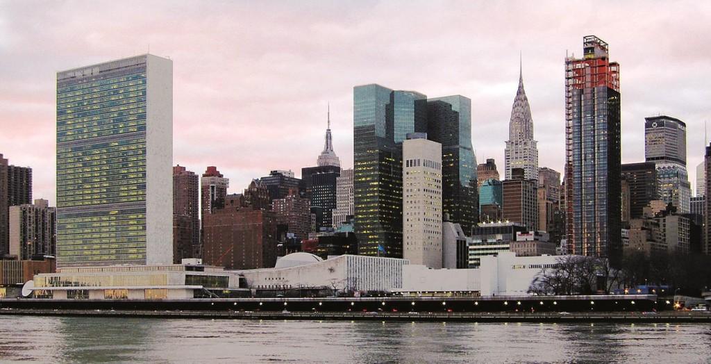Headquarters of the U.N. in New York City.