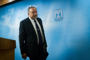 Avigdor Lieberman, Israeli Minister of Foreign Affairs and leader of the Yisrael Beiteinu party, seen at a press conference on Tuesday. (Miriam Alster/FLASH90)