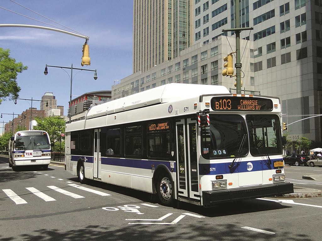 MTA buses in front of Brooklyn Supreme Court on Adams Street in 2013.