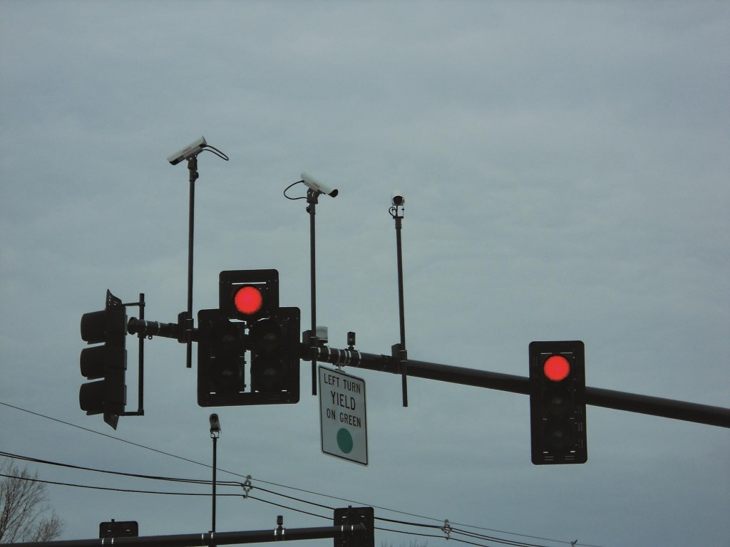 A red light with cameras rolling to catch runners.