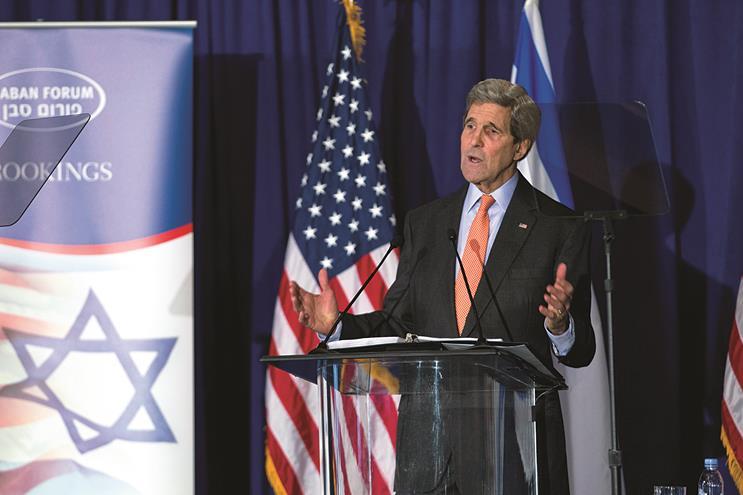 Secretary of State John Kerry speaks to the Saban Forum in Washington, on Sunday.  (AP Photo/Jose Luis Magana)