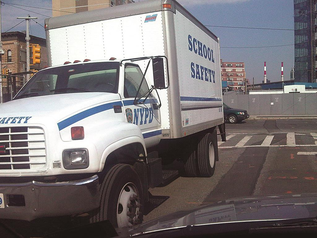 A NYPD School Safety Agents program truck parked in Queens.