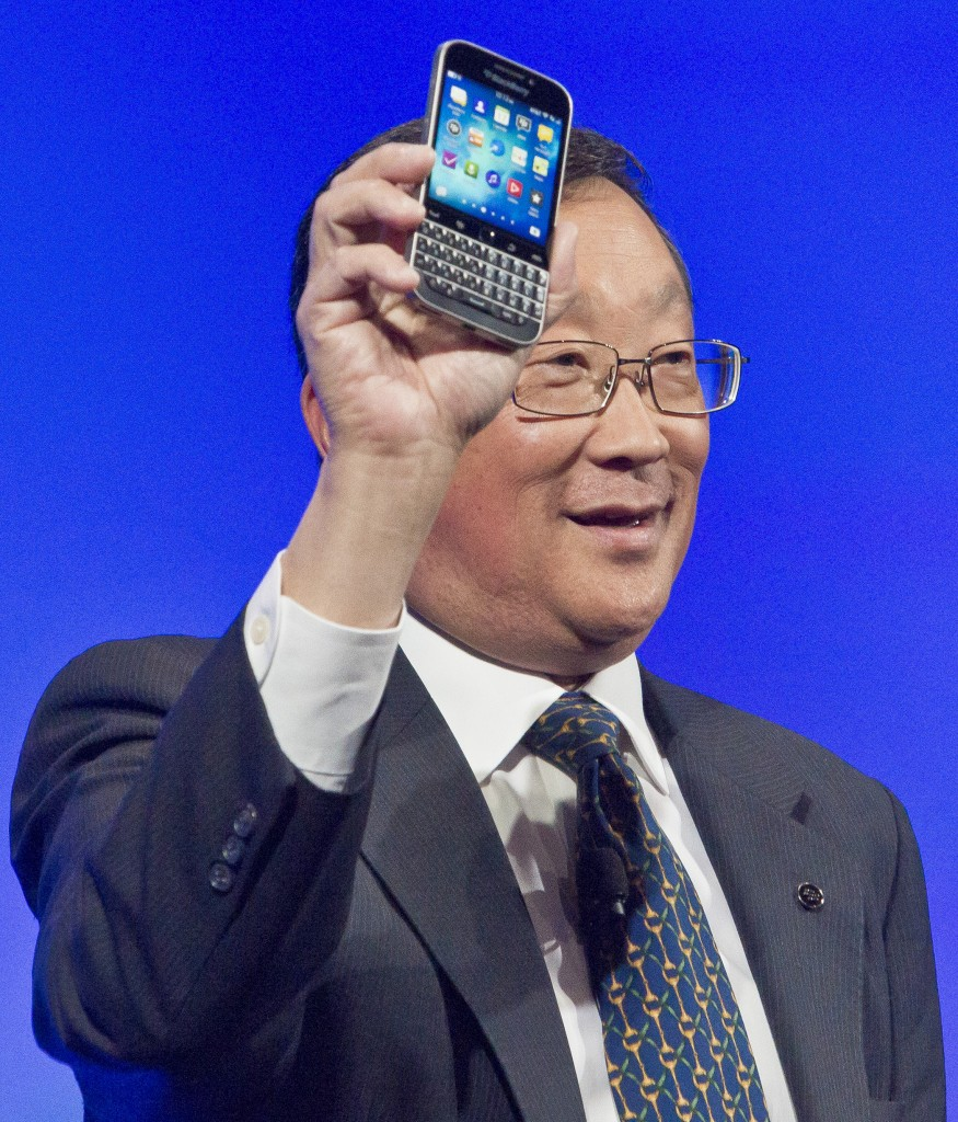 BlackBerry CEO John Chen introduces the company's new phone, the BlackBerry Classic, during a news conference on Wednesday, Dec. 17, 2014, in New York. (AP Photo/Bebeto Matthews)